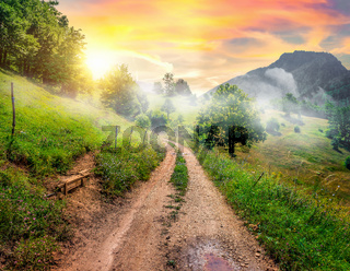 Country road in mountains