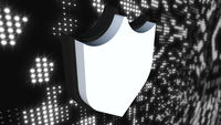 Icon cybersecurity shield on digital background, computer generated. 3d rendering of data protection abstract concept
