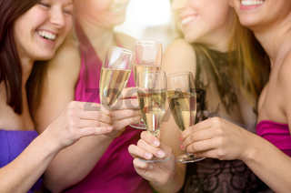 Laughing merry young women toasting together