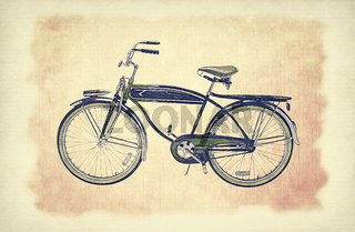 Hand drawn sketch illustration of bicycle. Vintage bike over old paper grunge background with delicate abstract canvas texture.