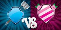 Background with pink and blue team shields versus