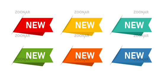 Colored banner or ribbon with text. New banner tags isolated. Design label signs. Sale or spesial offer. Discount banner.