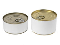 Tin cans with blank label and with key on the cap.