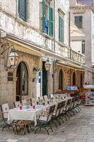 Empty tables in Dubrovnik restaurant