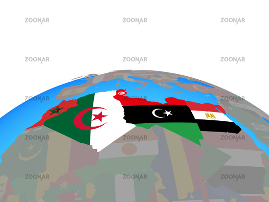 Map of North Africa with flags on globe