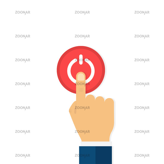Hand with finger pressing on button. Red power or start button. Man hand.