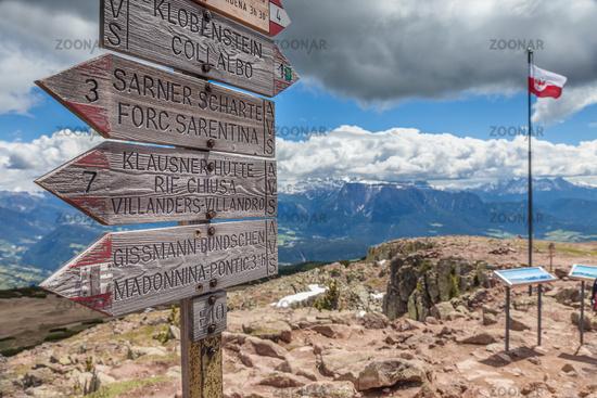 signpost at the Rittnerhorn