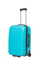 Blue travel suitcase isolated on white background.