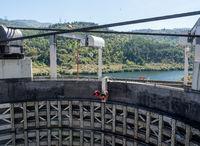 Entering Barragem do Carrapatelo dam and lock on the Douro river near Porto