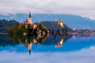 Bled with lake, island and mountains in background