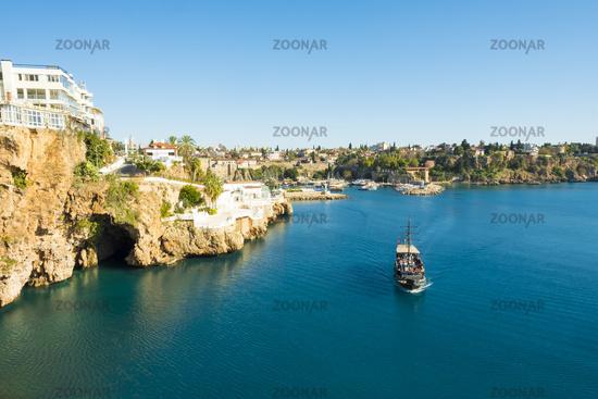 Tourist Boat Water Cave Entrance Antalya Harbor V
