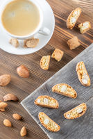 Cup of coffee with cantuccini