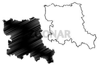 Stara Zagora Province (Republic of Bulgaria, Provinces of Bulgaria) map vector illustration, scribble sketch Stara Zagora okrug map
