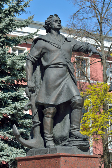 Kaliningrad, Russia - April 20, 2019: Monument to Peter the Great, Emperor Of Russia