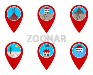 Pins mit Naturkatastrophen - Location pins with natural desasters