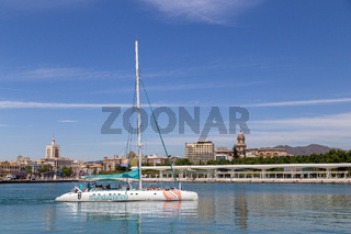 A catamaran in Malaga harbour, Spain