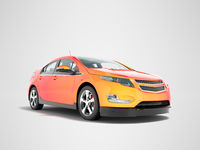 Modern electric car mix red orange front bottom perspective 3d rendering on gray background with shadow