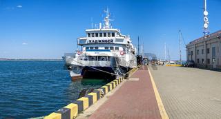 Old passenger catamaran in the port