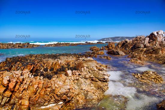 Nahe dem Kap Agulhas in Südafrika, dem südlichsten Punkt Afrikas