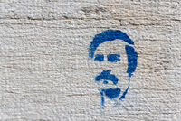 Graffiti an einer Hausfassade in der Altstadt in Schaffhausen