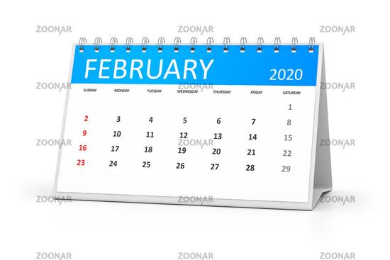 table calendar 2020 february