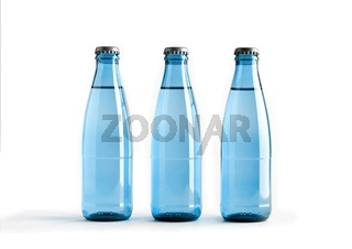 Colored blank bottles, mockup for beverages