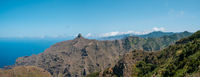 Mountain ridge  landscape panorama, blue sky and ocean view, Anaga Mountains, Tenerife