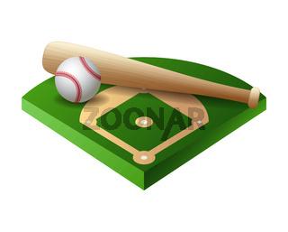 3d baseball base, field part with bat and ball