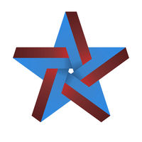 Optical illusion in 3d star in blue and red shades.