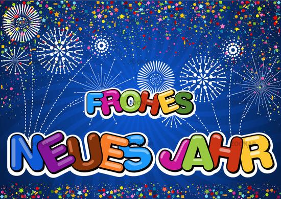 Bunter Frohes neues Jahr Gruß auf blauem Hintergrund