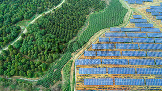 Solar farm, solar panels aerial view