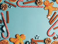 Frame of Christmas gingerbread cookies
