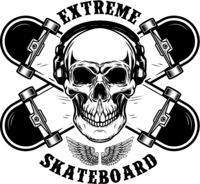 Skateboarder emblem. Crossed skateboards and skull. Design element for logo