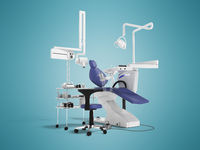 Concept modern dental equipment for dental treatment with a bedside table with a stool 3d render on a blue background with a shadow
