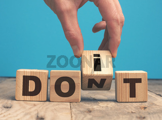 Do it concept with wooden blocks