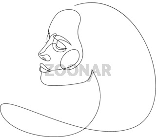 Continuous line drawing of Portrait of a Beautiful Woman face. The Concept of Skin or Hair Beauty Care for young female models. Fashion beauty model with a white background. Vector illustration