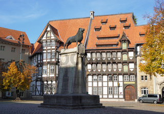 Brunswick Lion monument located on Burgplatz square in Braunschweig Germany