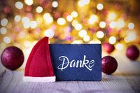 Sparkling Lights, Ball, Red Santa Hat, Danke Means Thank You