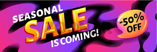 Seasonal ssale is coming - pink and black horizontal advertising web banner or poster, placard template with colorful abstract elements, vector illustration.