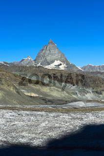Das Matterhorn, links Dent d'Herens, Gornergletscher vorn, Zermatt, Wallis, Schweiz