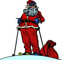 Skier Santa Claus character merry Christmas and happy new year