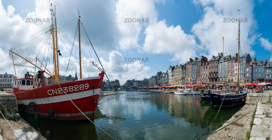 the old port and reataurant district in the historic city of Honfleur in Normandy