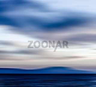 Abstract ocean wall decor background, long exposure view of dreamy mediterranean sea coast