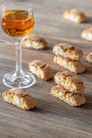 Cantuccini with a glass of Italian dessert wine
