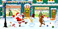 Happy Santa, snowman and reindeer celebrate Christmas on a city street.eps
