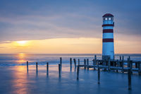 Lighthouse on the lake neusiedl in winter