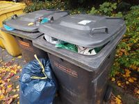 Bonn Germany, 12 November 2019: Garbage bins filled fully, it installed outside