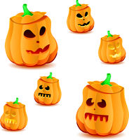 Set of halloween pumpkins with variations of illumination, part 18