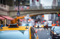 New York City, taxi and traffic along Grand Central Terminal