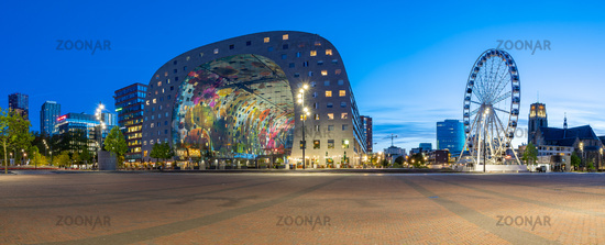 Panorama view of Markthal at night in Rotterdam city, Netherlands.